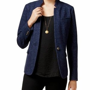 Maison Jules Blue Long Sleeve Wool Blend Blazer 10